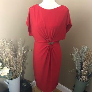Anne Klein Red Ruched Split Sleeve Dress